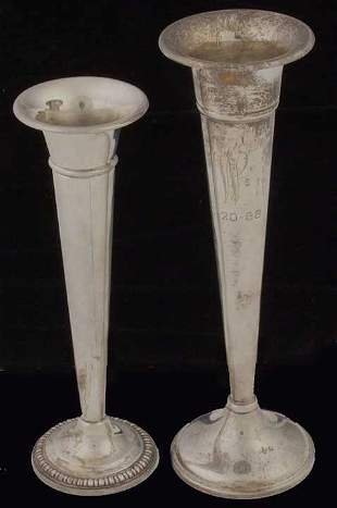 Two sterling bud vases