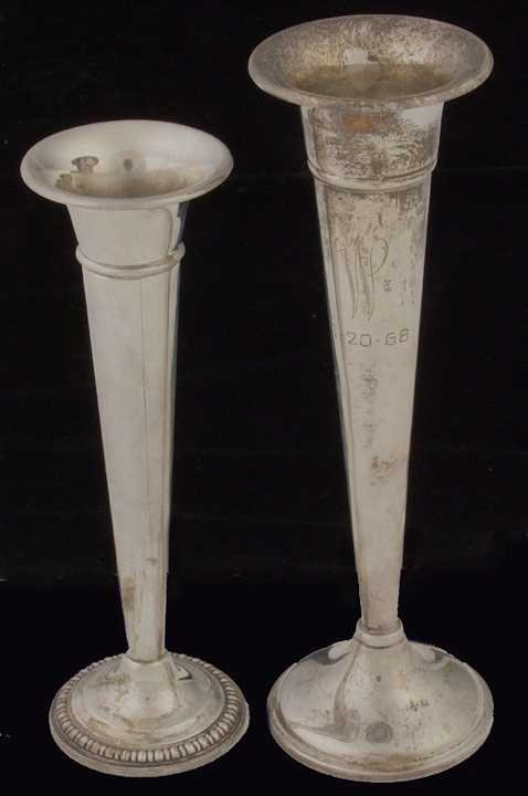 21: Two sterling bud vases