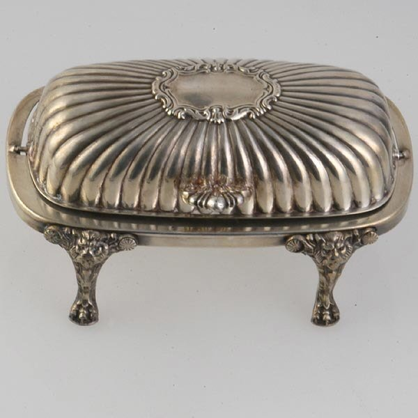 1002: Silver Plated Covered Butter Dish