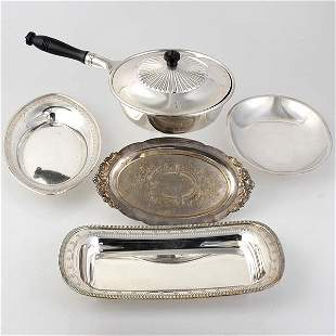 Four Plated Trays and Covered Pan