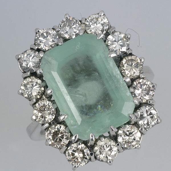 267: Siberian Emerald & Diamond Ring - 2