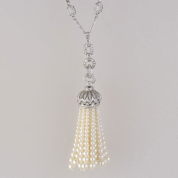 291: Gold Sartoire Pearl & Diamond Necklace