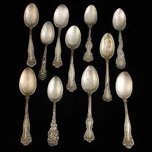 Eleven Sterling Teaspoons