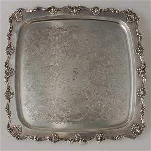 Victorian Silver Plate Square Tray