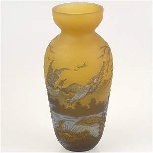 Galle Style Art Glass Vase