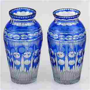 Pair of Large Glass Vases, flashed.