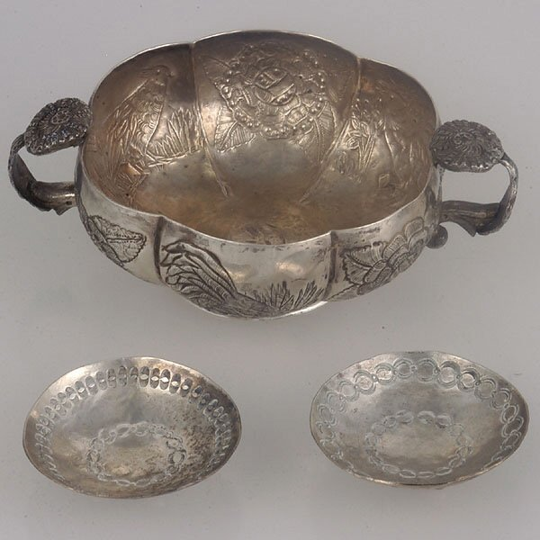 1: A.Violetta Silver Bowl and Two  Footed Salts