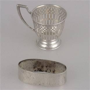 Sterling Napkin Ring & Demi tasse cup holder.
