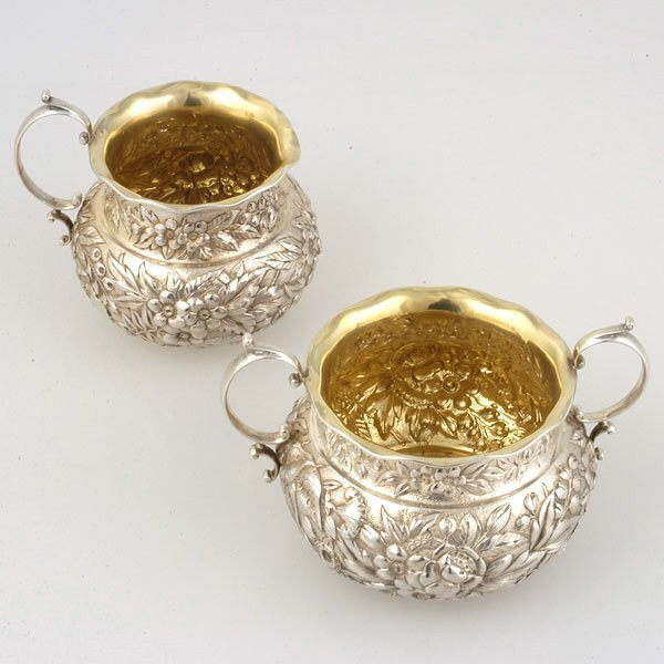 5: American Repousse Sterling Sugar and Creamer