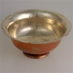 Silver Rimmed Hammered Copper Bowl,