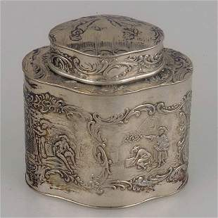 Dutch Rococo style silver tea canister.