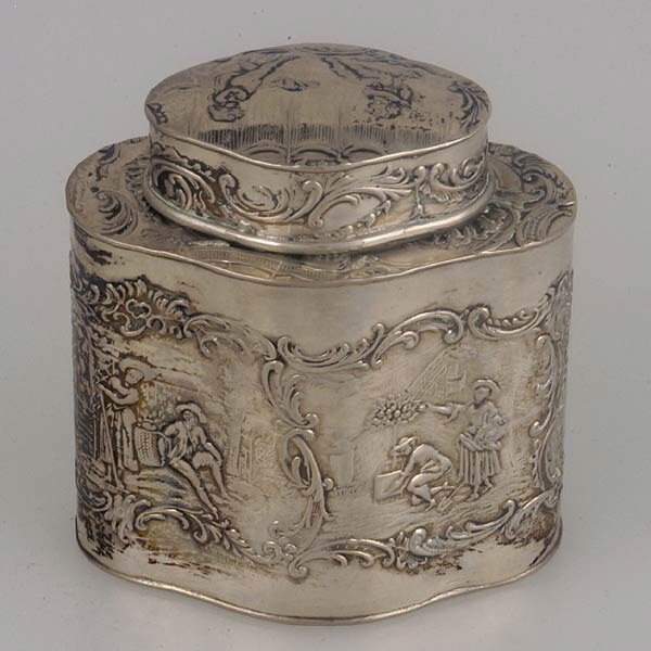 23: Dutch Rococo style silver tea canister.