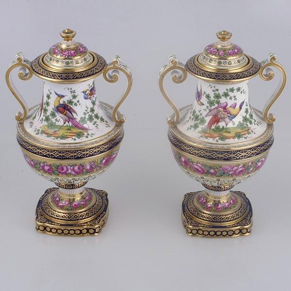 143: Pair Copeland China Urns