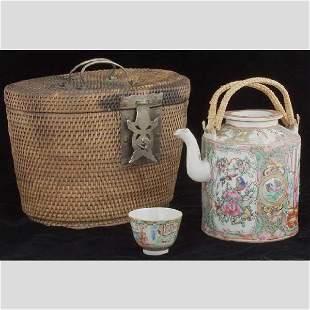 Famille Rose' Canton Porcelain Teapot