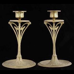 Pair of Art Nouveau Brass Candlesticks