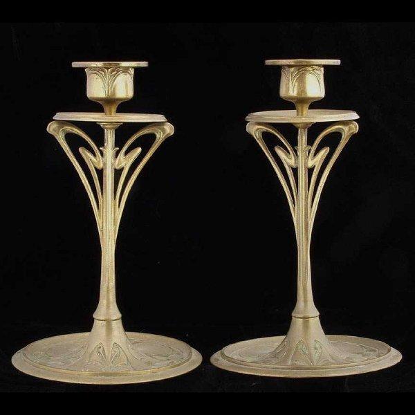 11: Pair of Art Nouveau Brass Candlesticks
