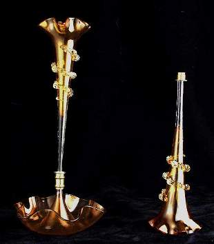 Amber glass epergne with additional flute