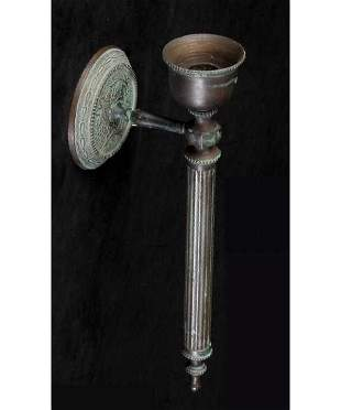 Cast bronze wall candle sconce