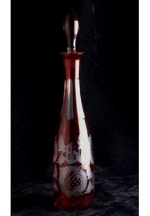 Ruby flashed glass decanter