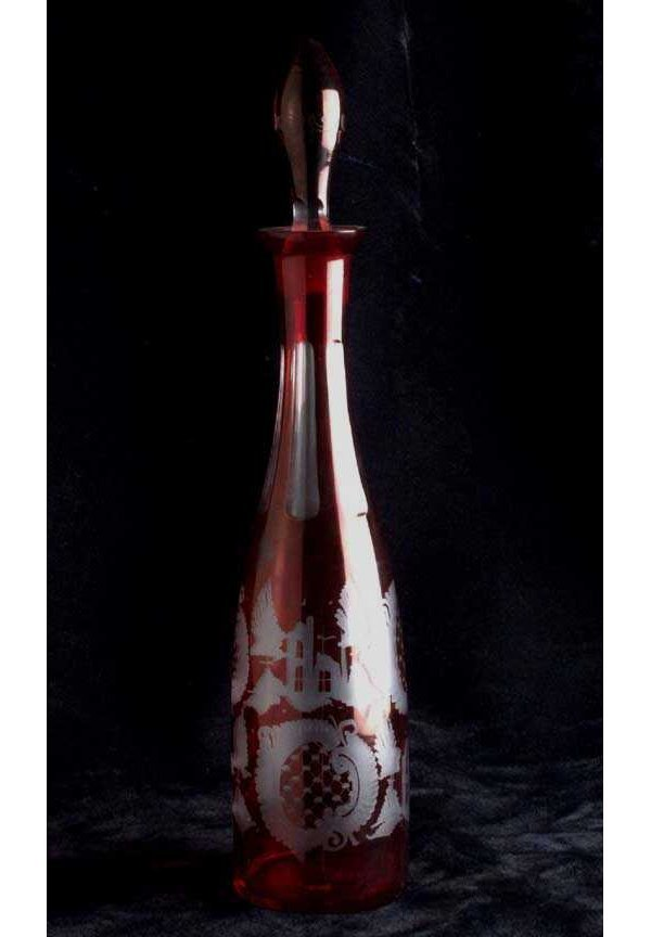 20: Ruby flashed glass decanter