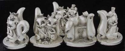 83: Five sterling squirrel figures