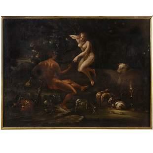ITALIAN ART EARLY 18TH C. ADAM AND EVE O/C.