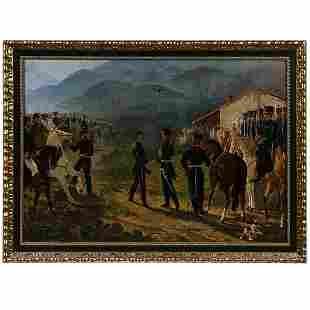 ITALIAN 19TH C. BALLERINI MILITARY O/C 1875