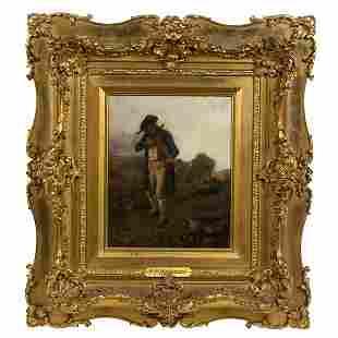 GERMAN ART c. 1871 HIDDEMANN THE HUNTER OIL