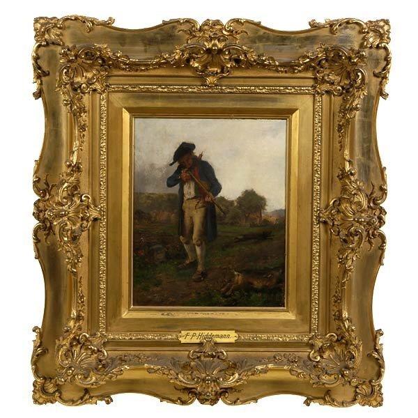 1014: GERMAN ART c. 1871 HIDDEMANN THE HUNTER OIL