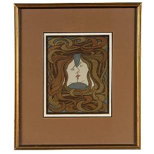 GERMAN ART DECO THE KISS BEHRENS ca 1898 WOODBLOC