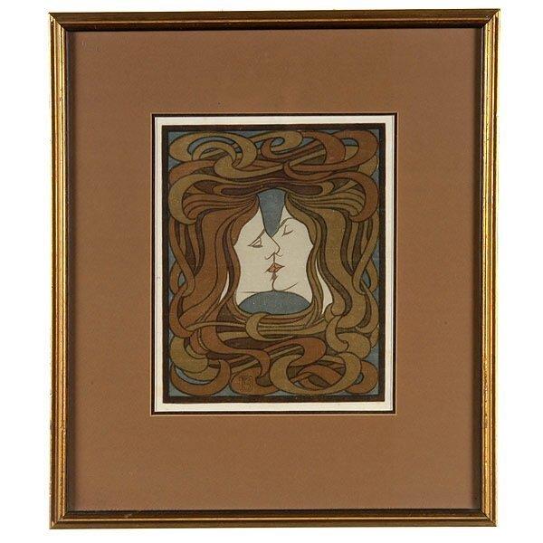 1016: GERMAN ART DECO THE KISS BEHRENS ca 1898 WOODBLOC