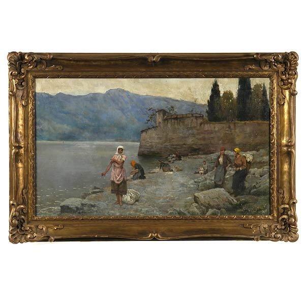 1017: EUROPEAN ART, EARLY 20TH C. OIL GENRE LANDSCAPE