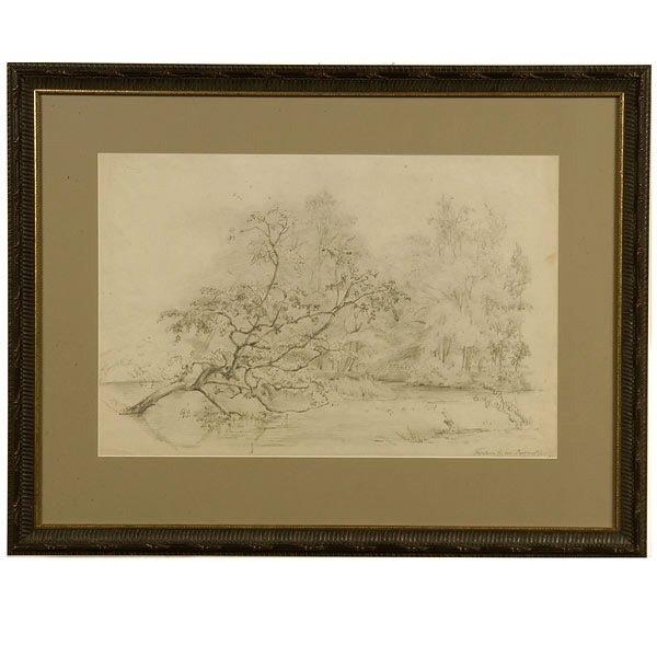 1021: DUTCH ART DRAWING KOEKKOEK 19TH C. TREE