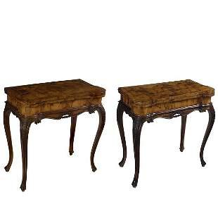 Pair of Venetian Rococo Walnut Games Tables