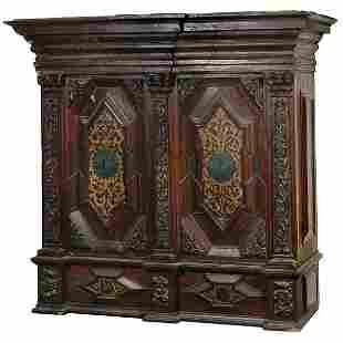 Continental Baroque Polychrome Decorated Shrank