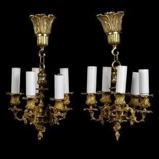 Pair of Continental Gilt Bronze Chandeliers