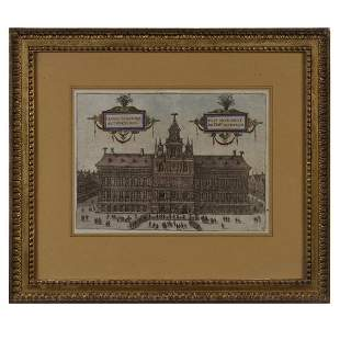 Antwerp Color Engraving Print of Town Hall,