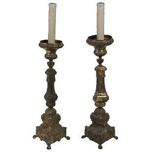 Pair Baroque Style Brass Plated Pricket Sticks