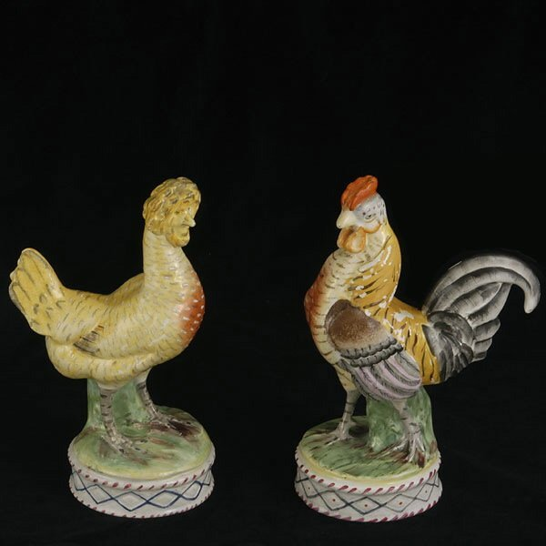 1298: Pair of Staffordshire Figures of Chicken,