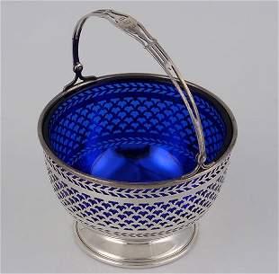 Am. Sterling Basket w/ Cobalt Blue Liner