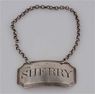 Eng Sterling Sherry Label by S. Barker,c.1792
