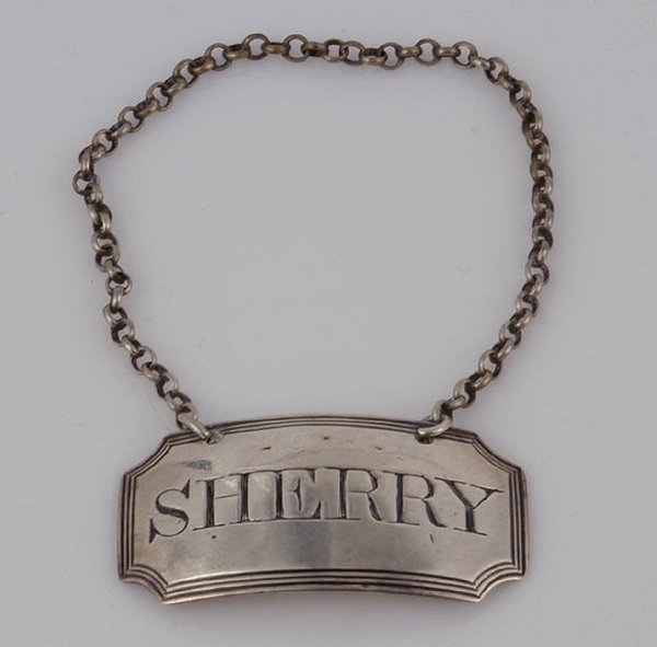 2019: Eng Sterling Sherry Label by S. Barker,c.1792