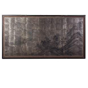 Japanese Four Panel Table Top Screen.