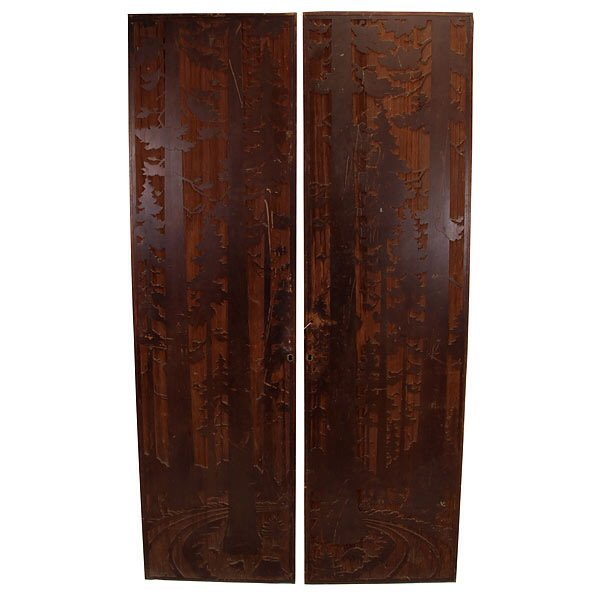 2481: Pair of Carved Redwood Doors