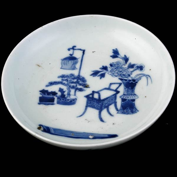 1: 19th C Chinese Small Blue & White Dish