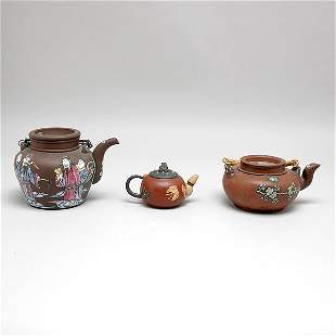 Three Chinese Ixing Teapots, 20th Century,