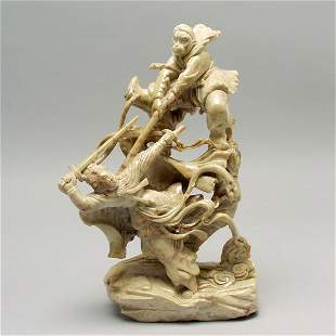 Chinese Soapstone Carving: Monkey in Combat
