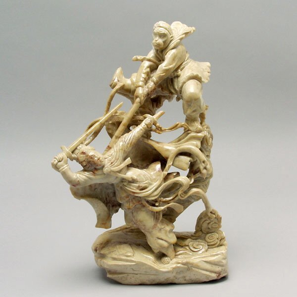 10: Chinese Soapstone Carving: Monkey in Combat