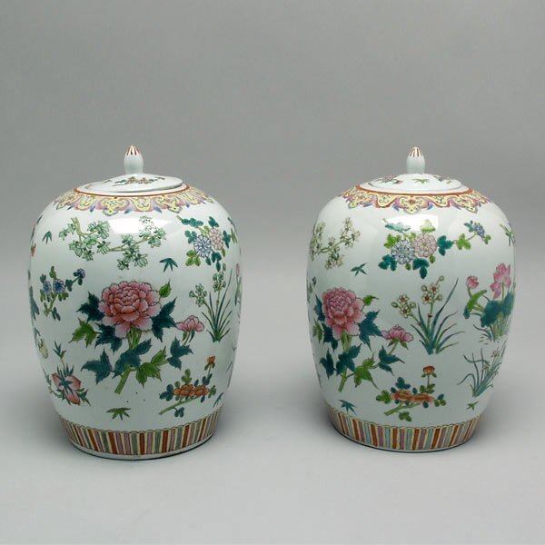 11: Pr Chinese Porcleain Covered Ginger Jars, 20th C.