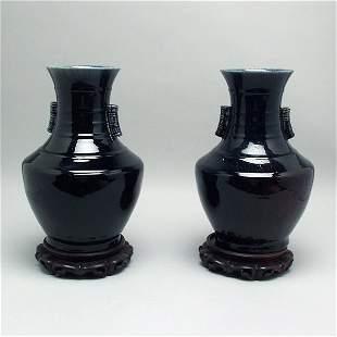 Pair of Chinese Cobalt Flambe Vases w/ Ring Handles